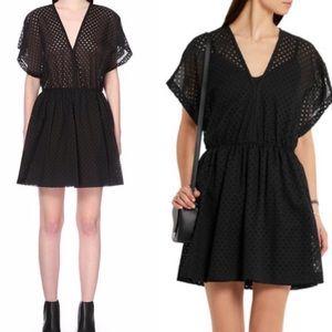 NWT IRO  Genna Cotton Perforated Dress Black Small